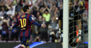 Lionel Messi celebrating scoring the first goal in Barcelona's 6-0 victory over Getafe