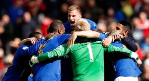 Leicester player celebrate after they ensured their Premier League status for next season