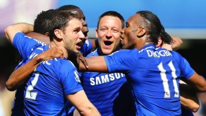 The Chelsea players celebrate their fourth Premier League title