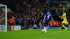 Cesc Fabregas scores Chelsea's fourth goal in the Blues 4-0 Champions League win over Maccabi Tel Aviv