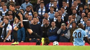 Juventus striker Mario Mandzukic celebrates equalising for his team in their 2-1 Champions League victory over Manchester City