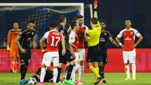 Arsenal striker Olivier Giroud was dismissed as the gunners suffered a surprise 2-1 defeat at Dinamo Zagreb in their Champions League opener