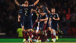 Scotland celebrate James McArthur's equaliser, but it meant very little in the end as the Scots suffered a 3-2 defeat against Germany
