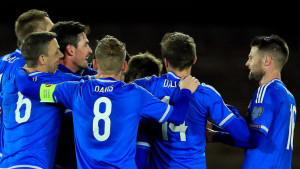 Northern Ireland players celebrate Craig Cathcart's goal in a 1-1 draw against Finland